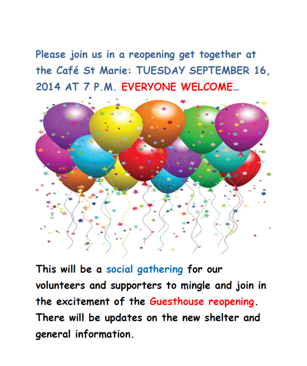 Reopening of Guesthouse Sept 2014